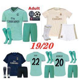 Набор для взрослых 19 20 Реал Мадрид футбол Джерси 2019 2020 Мужчины ASENSIO ISCO VINICIUS JR BALE Футболки футболки от Поставщики benzema jersey france