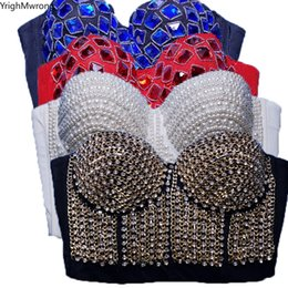 Vendita di corsetti gotici online-Gothic Bordare Perle Catena Di Strass Rivetto Corsetto Bralette Crop Top Bustier Canotta Partito Sala Da Ballo Club Sexy Fasciatura Push Up Y200415