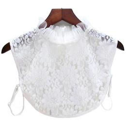 Colar de renda branca blusa on-line-Camisa branca Blusa Mulheres Coleiras Falsas de Algodão Chiffon Rendas Blusa Femme Falso Colar Tops Das Senhoras E Roupas Femininas Q1241