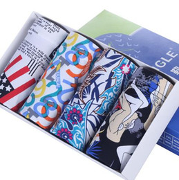 Hombre modal boxers online-ropa interior de los hombres de la nueva ropa interior transpirable jóvenes populares diseñador de los hombres letterprint cómoda de Europa y América