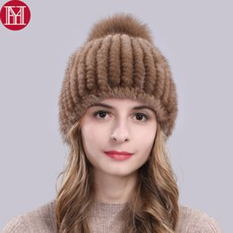 2019 Hot Sale Real Hat Women Winter Knitted Beanies Cap With Fox Fur Pom  Poms New Thick Female Cap f196e53afba4