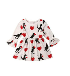 354a52b4cbc6 long heart line dresses Promo Codes - 2019 Valentine's Day Baby Girls Flare Sleeve  Dress Children