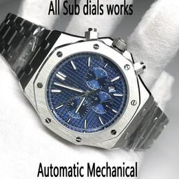 2019 homens relógios aço inoxidável calendário curren 7 cores movimento Homens Relógio Automático deslizar suave da série ROYAL OAK segunda mão vidro de safira 15400 todos os sub mostradores funciona relógios de pulso