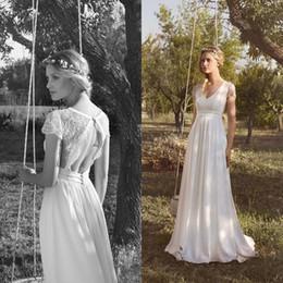 Vestidos de noiva para gravidez curta on-line-Rembo Styling 2019 Praia Chiffon Vestidos De Casamento V Neck Manga Curta Lace Applique Vestidos De Noiva Grávida Oco Voltar Vestido De Noiva Barato