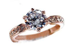 diamante de ouro coreano Desconto Versão coreana da flor Anel de noiva por atacado clássico de cristal de ouro rosa seis garra anel de diamante anéis de casamento mulher