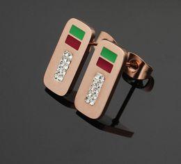 Loja de ouro 18k on-line-Nova moda hot marca de aço titanium brincos de ouro rosa 18k pregos de ouvido quadrado de prata adequado para compras e casal presentes