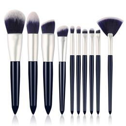 Kits de sobrancelha em pó on-line-Novo conjunto de pincéis de maquiagem 10pcs de alta qualidade, pincéis de maquiagem profissional em pó fundação sobrancelha sombra compõem ferramentas kit de escova.