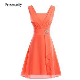 Vestido De Noiva New Orange abito da damigella d'onore corto in chiffon Piega Hot Pink Verde menta giallo abito da sposa abito formale Prom da