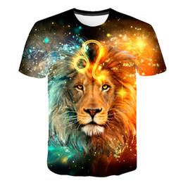 Leão 3d do rei camiseta on-line-Mens T-shirt 3D Impressão Lion king Padrão Impresso Tops 2019 Moda Mais Recente T-shirt Dos Homens Casuais Respirável Tops tee Moda te