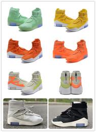 Botas de color verde lima online-Air Fear of God 1 Boots FOG 1 Naranja Verde lima Amarillo Negro Gris Zapatillas de deporte Atletismo al aire libre Envío gratuito con caja Size7-13