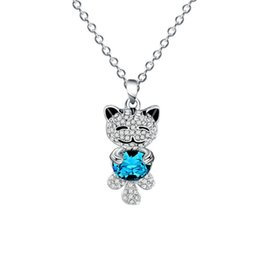 lovely bear jewelry Promo Codes - cute Crystal Necklace For Women Rhinestone Necklace Fashion Jewelry Lovely Bear Pendant Necklace