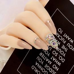 Bling для ногтей онлайн-Прохладный кофе Пресс на Bling Ab Кристалл ногтей поддельные ногти натуральные накладные ногти Стилет с наклейками 24шт чистый цвет