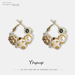 kupfer schmuck ohrringe Rabatt Yhpup Neue Elegante Exquisite Nachahmung Perlen Creolen Kupfer 16 Karat Blumenmädchen Schmuck Frauen Hochzeit Zubehör Ohrringe