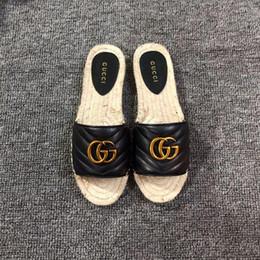Billige blaue sandalen online-Günstige Luxus Designer Blau Weiß Streifen Sandalen Denim Flache Slipprs Marke Schuhe Damen Sommer Outdoor Strand kausalen Flip-Flops