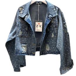 Jaquetas curtas de jean azul on-line-Primavera outono nova moda denim pesado casaco quente de perfuração azul curto jaqueta jeans mulheres