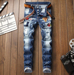 6db3e6d999731 2019 new big size jeans men s straight leg stitch jeans labeling paint denim  pants white casual creases jeans free shipping size 28-38 1015 discount new  men ...