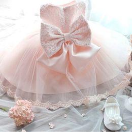 2019 vestidos de dama de la ropa de las niñas Baby Girl Vestido de encaje floral Tulle Girl Bautizo Ropa Boda Flower Girl Vestidos de dama de honor Princesa rosa Fiesta Vestido de fiesta vestidos de dama de la ropa de las niñas baratos