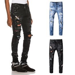 Calça jeans jeans para homem on-line-Luxo Mens Designer Jeans Mens Designer rasgado magro Magro Elastic Denim Fit Biker Jeans Moda Fit Zipper rasgado Calças