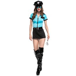Halloween dessous online-Cop Cosplay Kostüme Frau Sexy Blau Kurzes Top Schwarz Rock Set Halloween Cosplay Kostüme Frau Sexy Dessous 5 STÜCKE Set