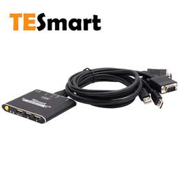 2019 moniteur de sortie vidéo Le commutateur KVM à câble VGA USB à 2 ports TESmart avec câbles et 1080p prend en charge le partage de périphérique USB 2.0