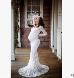 2019 nuova moda incinta donne pizzo lungo maxi abito abito di maternità fotografia puntelli servizio fotografico da abito di maternità maxi merletto nero fornitori