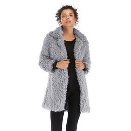 2019 straußenfedermantel xl Fur Fashion Solid Frauen lange Hülsen-dünner Mantel Donna beiläufiger Fleece Warme Kleidung Designer-Frauen Faux