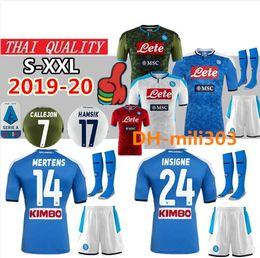 Camiseta de fútbol de nápoles online-2019 2020 Serie A Napoli camiseta de fútbol de los kits 19 20 Nápoles HAMSIK ZIELINSKI INSIGNE camiseta de Fútbol CALLEJON hogar lejos tercera camiseta de fútbol