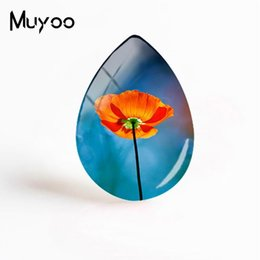 mohnblumen gemalt blumen Rabatt 2019 New Poppy Flowers Schmuck Red Poppies Art Tear Drop Cabochon Pflanzenmalerei Glaskuppel Cabochons Geschenke Frauen
