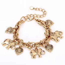 braccialetto della caviglia del cuore dell'oro Sconti Elefante vintage color oro elefante charms cuore Delta Sigma Theta bracciali gioielli DST caviglia