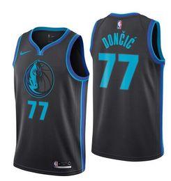 18-19 Season Dallas Men Mavericks Rookie New  77 Luka Jersey Doncic 41 Dirk  Jerseys Nowitzki City Edition Black Fan Version 765054f92