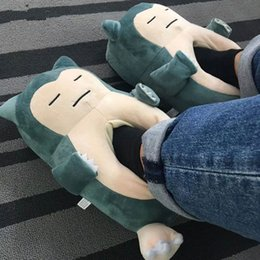 size adult shoes Promo Codes - Anime Snorlax Slippers Animal Party Cartoon Character Women Men Unisex Adult 35-42 Size Winter Kawaii Shoes Wholesale