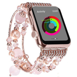 Cuentas de manzana online-Banda de reloj de moda Casual 38 / 42mm Bling Mujeres Agate Beads Correa pulsera banda para Apple Watch para IWatch 3/2/1 para niñas