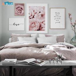 flowers posters canvas Promo Codes - Pink Peony Rose Flower Wall Art Canvas Painting Nordic Minimalism Posters And Prints Wall Pictures For Living Room Home Decor