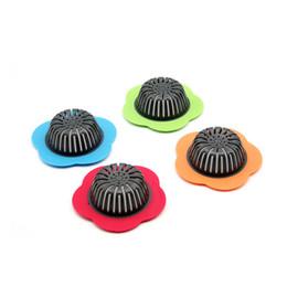 Drenos do assoalho da cozinha on-line-Flor forma pia da cozinha Strainers 4 cores casa cozinha restaurante filtro de esgoto banheiro piso de drenagem de lavar louça filtro