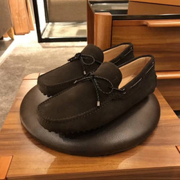 lazy low shoes Promo Codes - Brand Men cow leather Low Top Doug Driving Lazy shoe Slip-On formal Suit Business Office Dress Wedding Shoe men Flat Horsebit Loafers,38-44