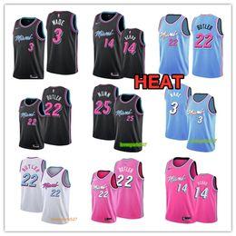 Miami camisa de basquete on-line-Miami Dwyane Wade 3 Jersey Calor Jimmy 22 Butler Jerseys Tyler 14 Herro Jersey Kendrick 25 Nunn Jerseys costurado Basketball Jerseys Azul Rosa