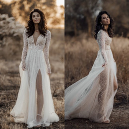 layered tulle wedding dress beach Promo Codes - Newest 2020 Long Sleeve Split Wedding Dresses A Line V Neck Wedding Gowns Lace Tulle Sequins Formal Dress Layered Bohemian Bridal Dress