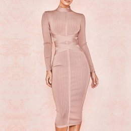 New Fashion Celebrity Party Bodycon Bandage Dress Donna manica lunga O-Collo Elegante Sexy Night Out Club Dress Donna Vestidos da abito nero bandiera fornitori