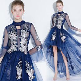 Canada vetements de soirée pour femmes robes de soirée courtes devant devant dos mince fin en fête élégante 2019 nouvelle mode robe de bal bleu royal pour femme Somx38 Offre
