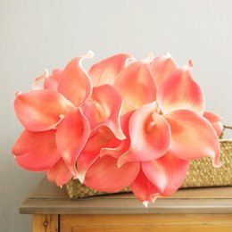 lirios de bodas Rebajas Lirio de cala de flores artificiales del tacto verdadero centros de mesa para matrimonio novia Ramos de flores falsas del partido del hogar Decoración de Navidad