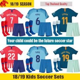 18 19 Atletico Madrid Kids Kit 2018 2019 LEMAR GRIEZMANN Kids Men Women  Football Shirt CORREA MORATA Soccer Shirt SAUL DIEGO COSTA Jersey discount  atletico ... d3ed3cf34