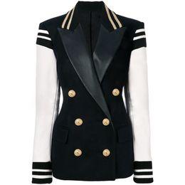 hohe mode frauen blazer Rabatt HOHE QUALITÄT Neueste Mode 2019 Designer Blazer Frauen Leder Patchwork Zweireiher Blazer Klassische Varsity Jacke