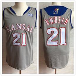925095d4109  21 Joel Embiid Kansas Jayhawks KU College Grey Retro Basketball Jersey  Mens Stitched Custom Number and name Jerseys ku basketball jerseys outlet