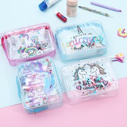 2019 transparente make-up-tasche organizer 4 stile Cute Einhorn Transparent PVC Reisen Zubehör Kosmetiktasche Reinigung Make-Up Wasserdichte Kaktus Flamingo Kits Organizer Taschen Beutel günstig transparente make-up-tasche organizer