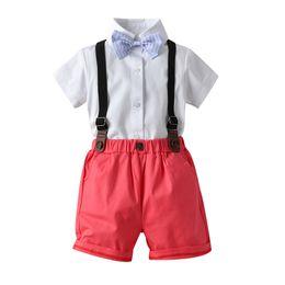 laço da camisa dos meninos t Desconto Alta qualidade da criança do bebê menino crianças cavalheiro sólidos t-shirt tops shorts geral amarrar roupas roupas de verão caindo de roupa menino