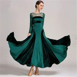 2dbd81f26f05 vestito lungo dalla sala da ballo Sconti Green Standard Standard Ballroom Dress  Modern Waltz Ballroom Dance