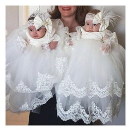 2019 vestido de comunión escote ilusión Concurso de dos capas de encaje apliques vestido de bautizo para el bebé medio de la manga vestido de bautismo vestidos de primera comunión