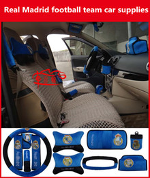 real madrid football team Promo Codes - Real Madrid football team car steering wheel headrest seat belt cover gear set Real Madrid fans supplies