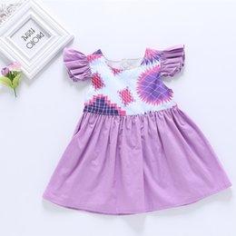 Vestidos geométricos del boutique online-Niñas volando vestido de manga Niños estampado geométrico princesa vestidos 2019 verano Boutique Niños Ropa C6266