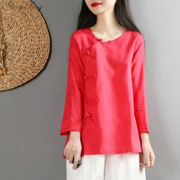 baumwoll-leinenbluse frauen Rabatt Chinesische traditionelles Kostüm cheongsam Top-Leinenhemd Frauen elegante Baumwolle und Leinen Mandarinekragen Blusen V1469